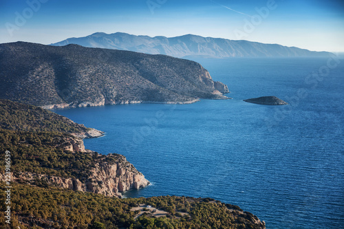 Bright beautiful scenery, the shore of the island of Rhodes from a height, a trip to Greece, rocks and sky