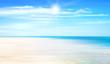 Illustration Summer background with ocean, coastline, light sand, blue sky, sunshine and beach.