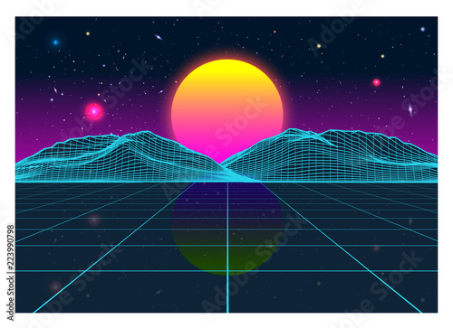 Fotomural Vector Retro Futurism Old VHS Style Landscape 1980s Style