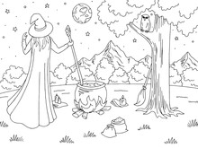 Witch Conjuring. Mountain Graphic Black White Landscape Sketch Illustration Vector