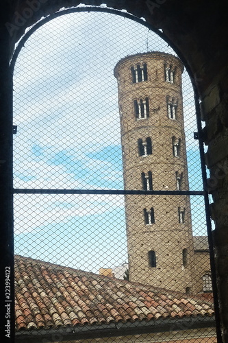 Foto op Aluminium Oude gebouw Italy, Ravenna, bell tower of the Basilica of St Apollinare Nuovo from a window of the Theodoric s Palace