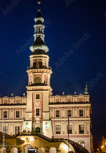 Foto op Aluminium Oude gebouw Town Hall, an old medieval building in the city of Zamosc in night. Idea for poster, postcard