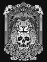 Lion Illustration With Skull A...
