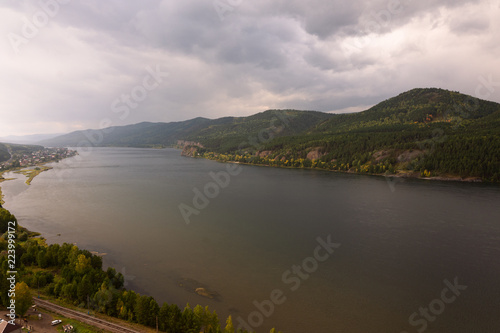 Fototapeta View on Yenisei River near Krasnoyarsk in Siberia obraz