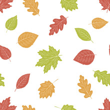 Tree Leaf Graphic Color Seamless Pattern Background Sketch Illustration Vector