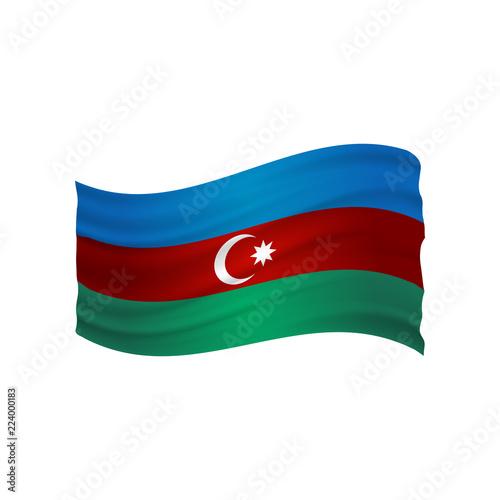 Fotografija  azerbaijan undulating flag vector (Azerbaycan bayragi)