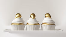 White And Gold Luxury Strawberry Cakes 3d Illustration