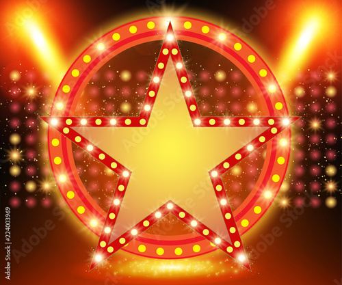 Foto op Canvas Licht, schaduw Retro star banner on stage with spotlight effect background