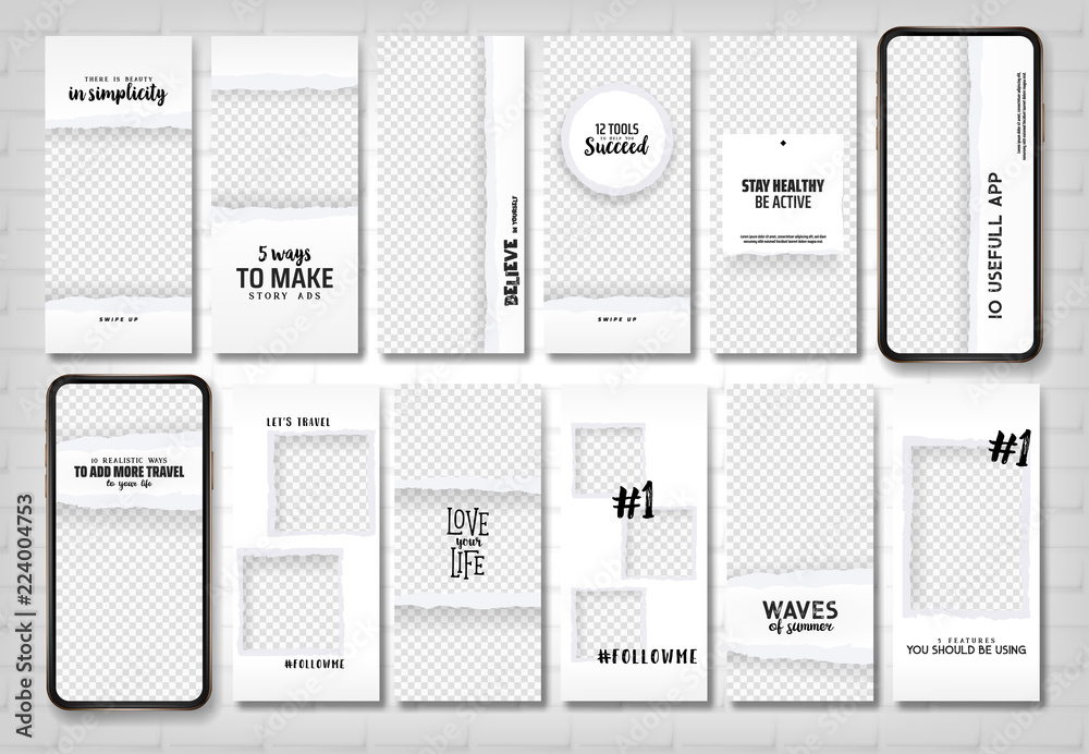 Fototapety, obrazy: Social stories template. Editable torn paper design. Lifestyle concept.