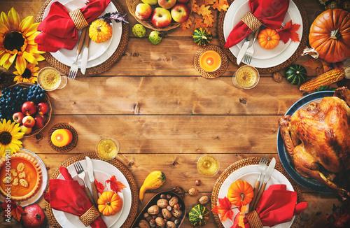 Fototapeta Thanksgiving celebration traditional dinner setting meal concept obraz