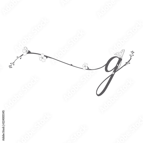 Fotografering  Vector Hand Drawn floral g monogram and logo