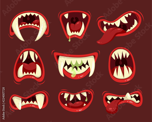 Monster angry and hungry mouth with teeth Wallpaper Mural