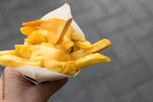 Man's hand holds a paper cone with french fries and creamy cheese as topping