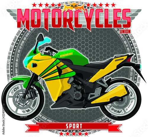 Poster Motorcycle Motorcycle of a certain type, on a symbolic background. Motorcycle text and background are located on separate layers.