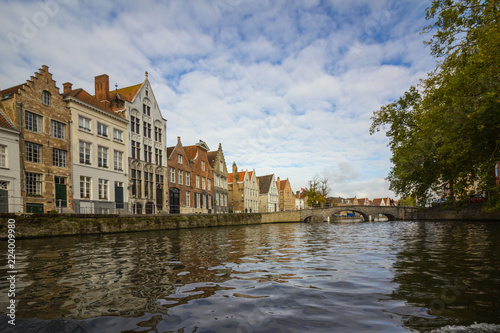 Foto op Canvas Brugge Architecture on the canals of Bruges
