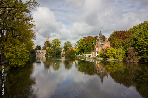 Landscape on the lake in Bruges