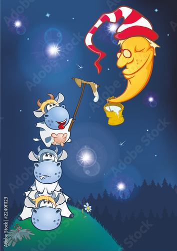 Poster Babykamer Cow, clean the moon. Cartoon