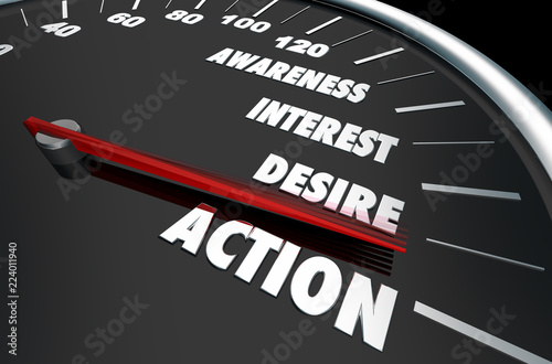 Awareness Interest Desire Action Speedometer Words 3d Illustration Wallpaper Mural