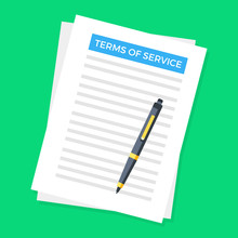 Terms Of Service. Document And Pen. Top View. Terms Of Use, Terms And Conditions Concepts. Modern Flat Design. Vector Illustration