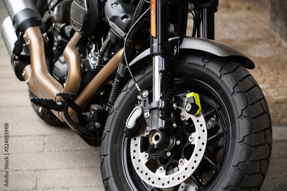 Fototapety, obrazy: Motorcycle with anti-theft protection on the front brake disc