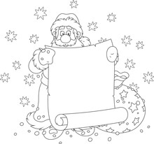Santa Claus With A Paper Scrol...