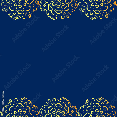 Fotografía  Hand drawn Oriental gold traditional ornament on blue background