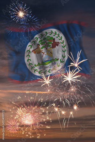 Photo Fireworks and flag of Belize