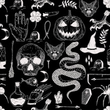 Vector Seamless Hand Drawn Vintage Halloween Pattern With Pumpkin, Skull, Snake, Witch, Grave, Bat. Creepy Decoration For Paper, Textile, Wrapping Decoration, Scrap-booking, T-shirt, Cards.