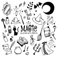 Magic Illustration Pack (Elements)/Witch,Fantasy/Doodle Clip Art/Hand Drawn