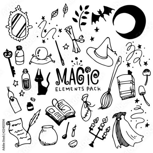 Fototapeta Magic Illustration Pack (Elements)/Witch,Fantasy/Doodle Clip Art/Hand Drawn