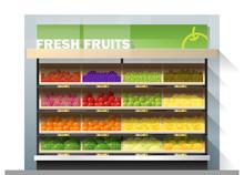Fresh Fruits For Sale Display On Shelf In Supermarket , Vector , Illustration