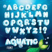 Vector Aquatic Font. Cartoon Water Letters Alphabet