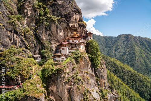 View of Taktsang Monastery or The Tiger's Nest Monastery in Paro Bhutan Canvas Print