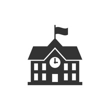 School Building Icon In Flat S...