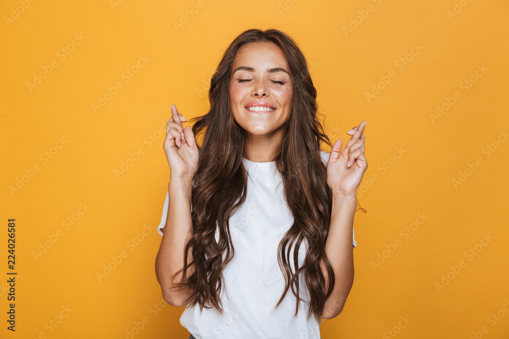 Fototapety, obrazy: Portrait of a happy young girl with long brunette hair