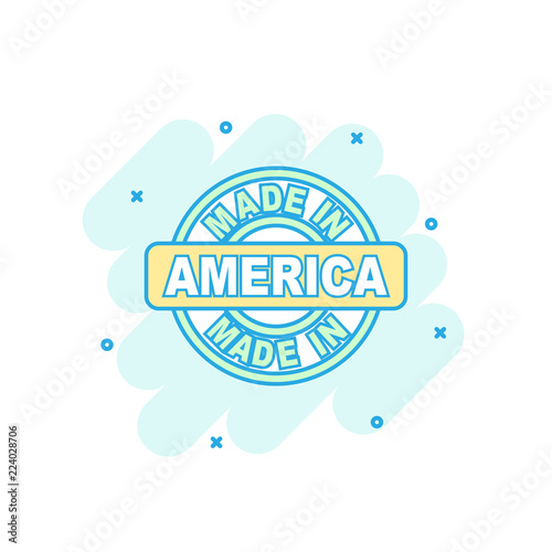 Photographie  Cartoon colored made in America icon in comic style