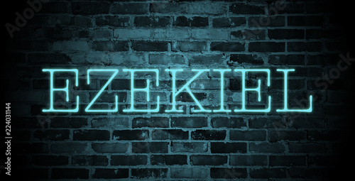 first name Ezekiel in blue neon on brick wall Wallpaper Mural
