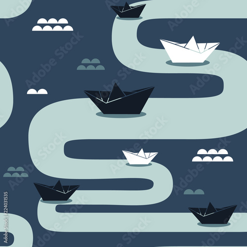 Collection of paper boats, marine seamless pattern vector. Colorful backdrop with ships of paper. Decorative colored wallpaper, good for printing. Hand drawn overlapping background
