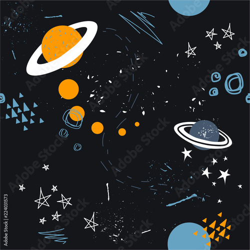 Stars, planets, constellations, seamless pattern vector. Hand drawn backdrop, night sky. Colorful overlapping background, outer space. Decorative wallpaper, good for printing for observatory