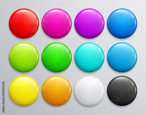 Tableau sur Toile Big set of colorful glossy badge or button