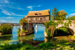 canvas print picture - Old Timbered Water Mill in Vernon Normandy France