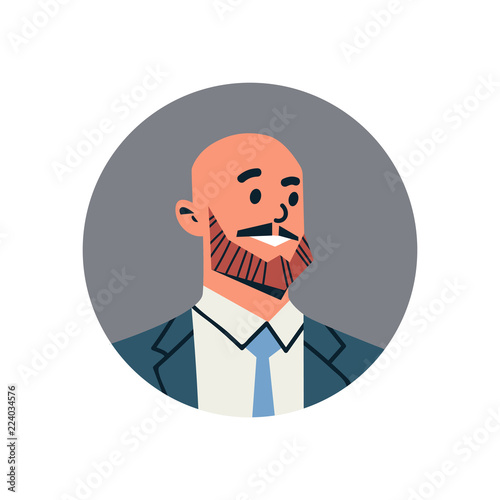 Stampa su Tela bald head businessman avatar man face profile icon concept online support servic