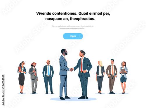 businessmen handshake agreement concept mix race business men team leader hand shake international partnership communication cartoon character isolated flat full length horizontal copy space vector