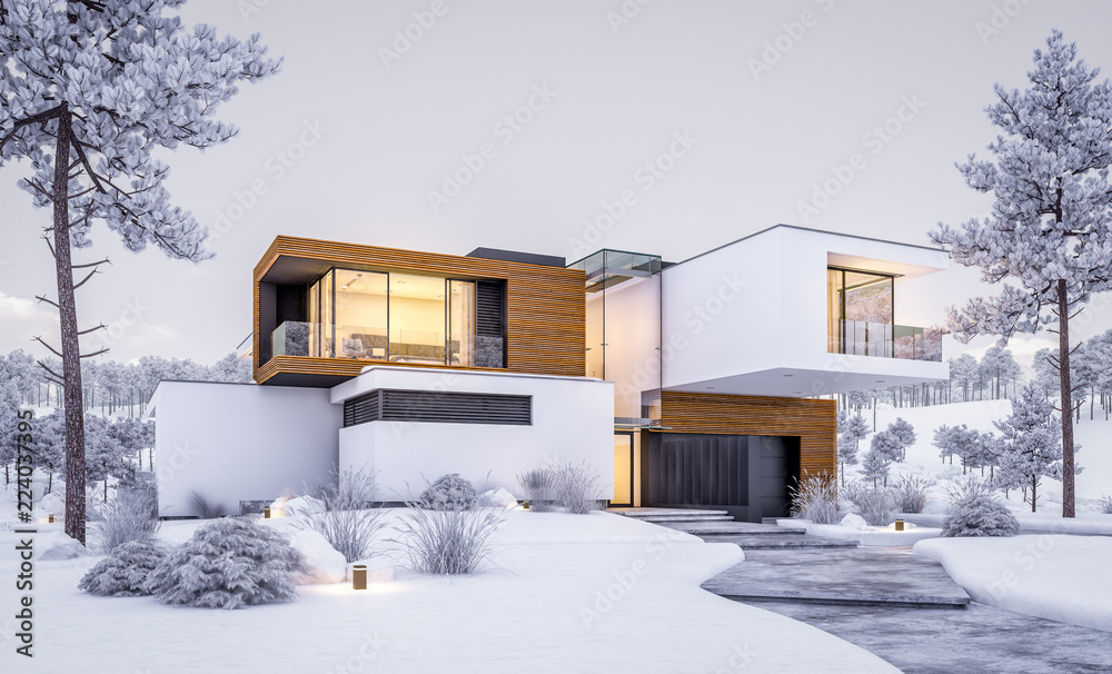 Fototapeta 3d rendering of modern cozy house by the river with garage. Cool winter evening with cozy warm light from windows. For sale or rent with beautiful mountains on background
