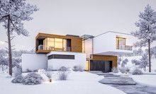 3d Rendering Of Modern Cozy House By The River With Garage. Cool Winter Evening With Cozy Warm Light From Windows. For Sale Or Rent With Beautiful Mountains On Background