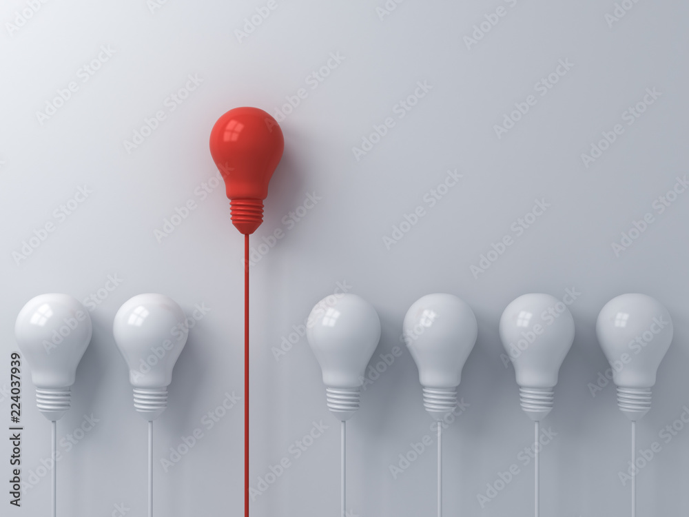 Fototapety, obrazy: Think different concept One red light bulb standing out from the dim white light bulbs on white wall background with shadows leadership and individuality creative idea concepts 3D rendering