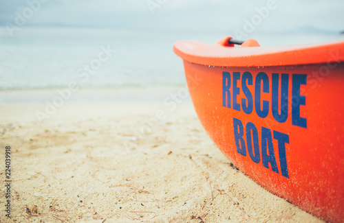 Rescue boat on the beach. Lifeguard, life boat, resecue, baywatch Canvas Print
