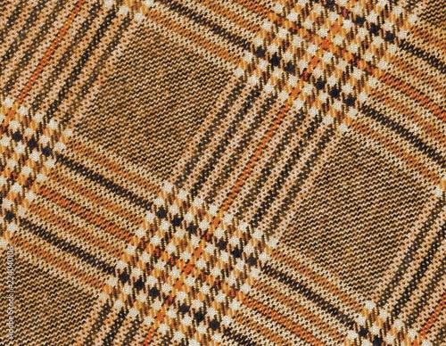 Fotografie, Tablou  Tartan laineux orange et brun pour fond.