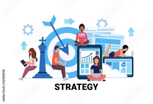 busines man woman team using gadgets successful working strategy concept people teamwork creative innovation futture project startup flat horizontal vector illustration