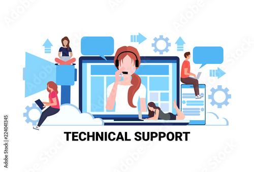 businessman woman call center workers headphones operator technical support concept online service repair help teamwork process horizontal flat vector illustration